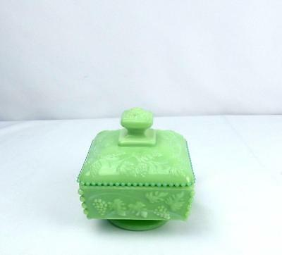Westmoreland Paneled Grape Mint Green Jadite Footed Beaded Honey Candy Dish