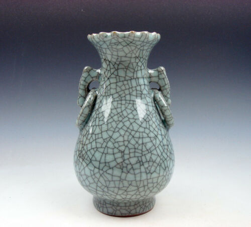 Chinese Crackle Celadon Hand Crafted Unique Shaped Vase W/ 2 Handles 08151909 - $19.99