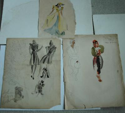 Lot of Original 1930's or 1940's Vintage Fashion Watercolors by Marina Shaleesh