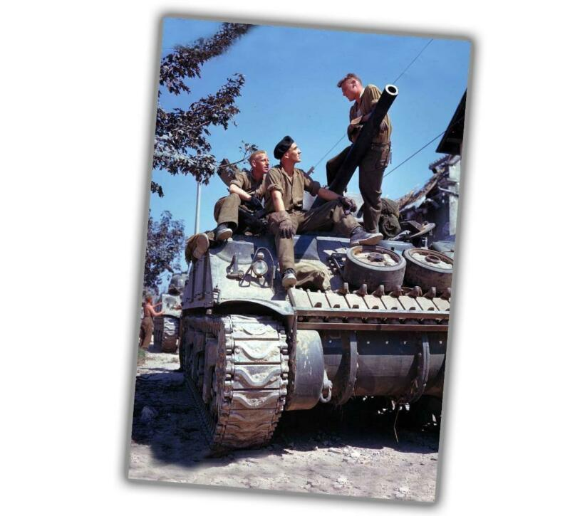 War Photo WW2 Canadian crew of a Sherman tank south of Vaucelles in Normandy N