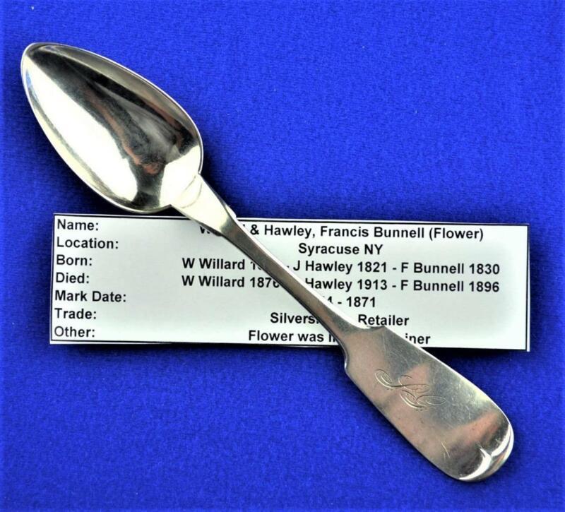 WILLARD & HAWLEY/BUNNELL COIN SILVER SPOON-C1860 SYRACUSE NY-FLOWER (RETAILER)
