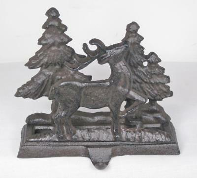 Cast Iron Deer & Trees Christmas Stocking Holder Hanger Rustic Country Style ()