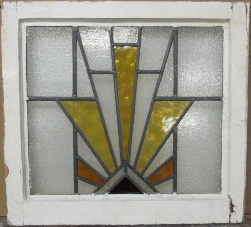 """OLD ENGLISH LEADED STAINED GLASS WINDOW Gorgeous Geometric Burst 20.5"""" x 19"""""""