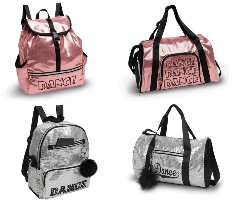 NEW Dance Bag Duffle or Backpack Shine Sequin Pink Silver Ballet Jazz Hip Hop