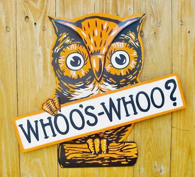Bethany Lowe Halloween Whoos Whoo? Tin Owl Sign New