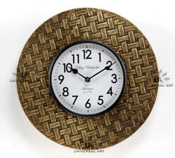 Vintage Home Decor Antique Look Brass Engraving Work Wall Clock Ethnic India 141