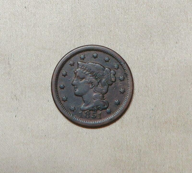 Very Fine  Pre Civil War 1851 Braided Hair Large Cent, Free USA Shipping