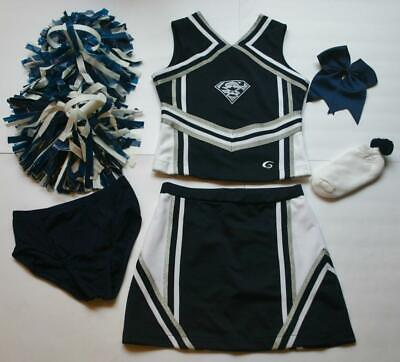 Dallas Cowboy Cheerleading Outfit (COWBOYS CHEERLEADER COSTUME OUTFIT SET POM POMS BOW UNIFORM 12-14 8)