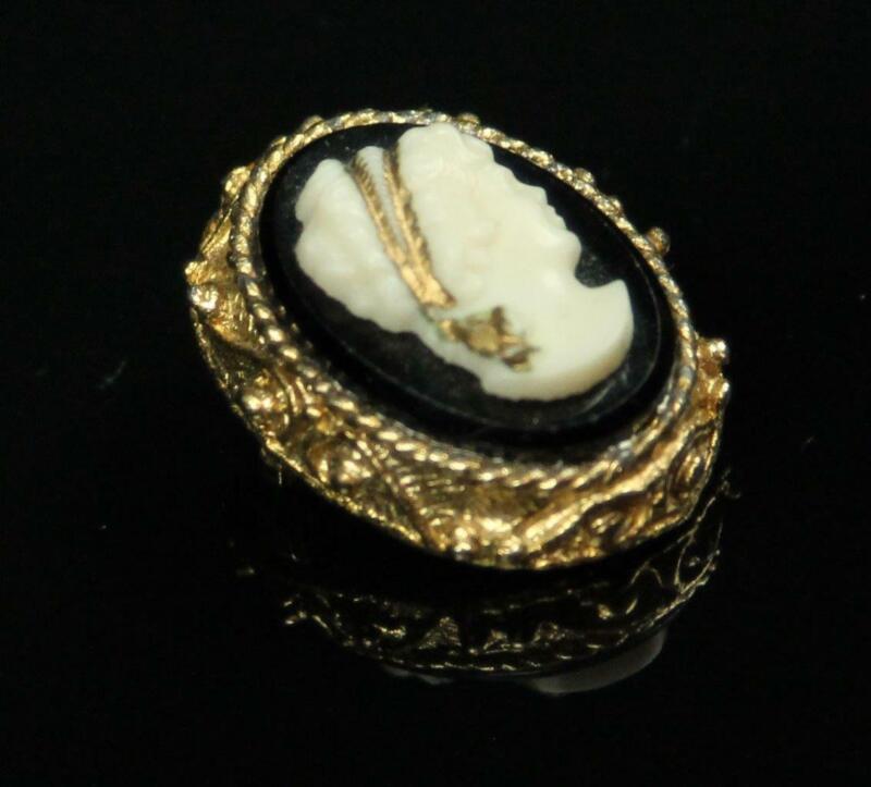 Vtg Antique Art Nouveau Victorian Lady Onyx Black Cameo Gold Pin Brooch