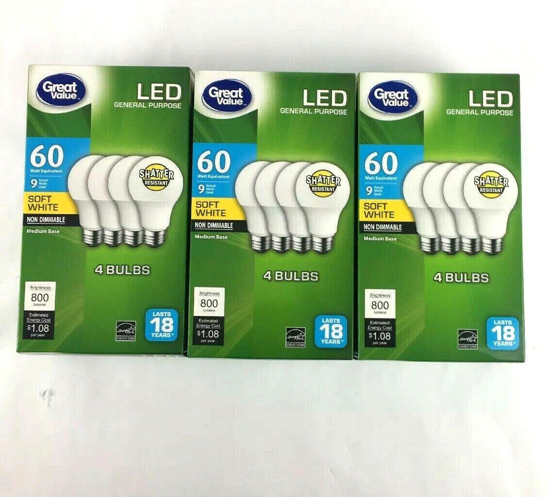 12 Pack Led 60w 9w Soft White 60 Watt Equivalent A19 2700k E26 Light Bulb