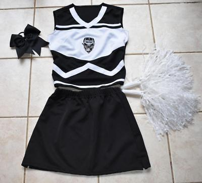OAKLAND RAIDERS SKULL CHEERLEADER COSTUME OUTFIT HALLOWEEN ADULT LADIES 6-8 - Raiders Cheerleader Halloween Costume