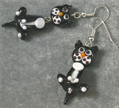 Used, Lampwork Glass Kitty Cat Earrings Black White Silver Hypoallergenic Wiggly fun! for sale  Shipping to Canada