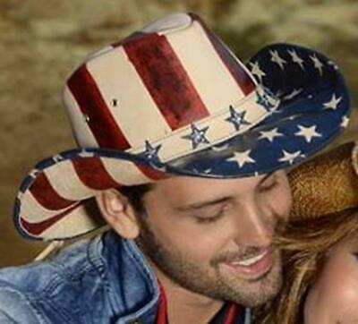 Red White And Blue Cowboy Hat (AMERICAN by HEART Red White Blue Leather Western Cowboy Hat Bullhide)