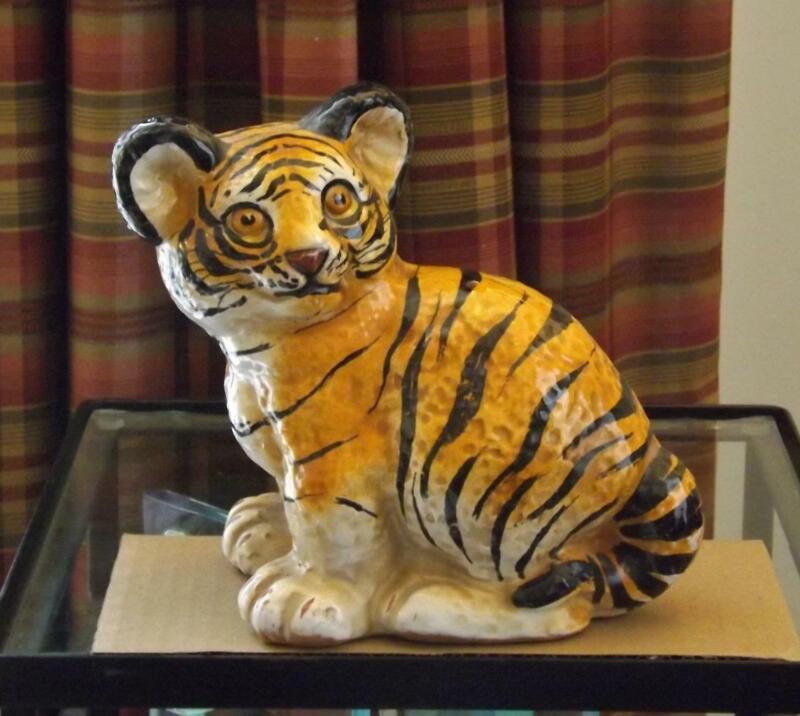 Ceramic Tiger Cub Figurine Italy