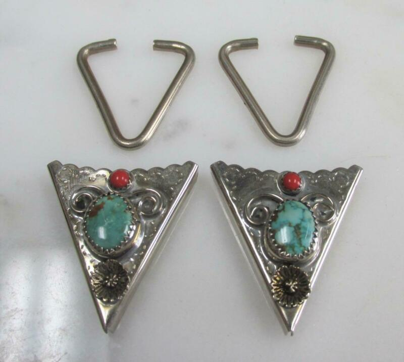 Silver Tone Southwestern Collar Tips w/ Turquoise & Coral ~ 16.3g ~ 8-G492