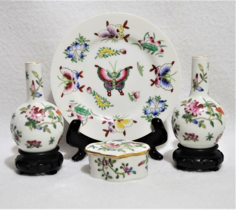 Lot/4 Vintage Chinese Hand Painted Porcelain Butterfly Flower Plate~Vases~Box