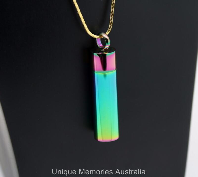 316L Stainless Steel Rainbow Reflections Cylinder Cremation Keepsake Urn Pendant