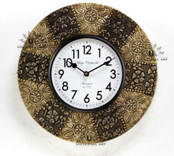 Vintage Home Decor Antique Look Brass Engraving Work Wall Clock Ethnic India 154