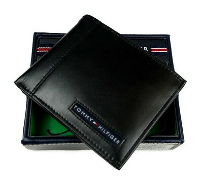 Tommy Hilfiger Men's Leather Credit Card Wallet Billfold Black 5675-01