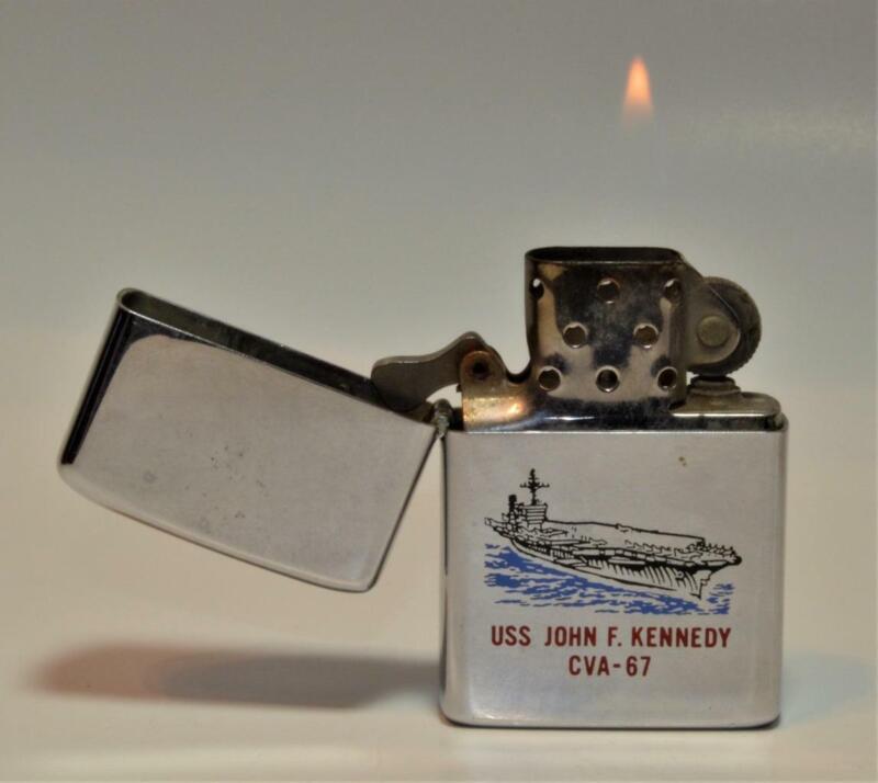 Very Rare 1972 double-sided original Zippo USS JOHN F.KENNEDY CVA-67 US Ships