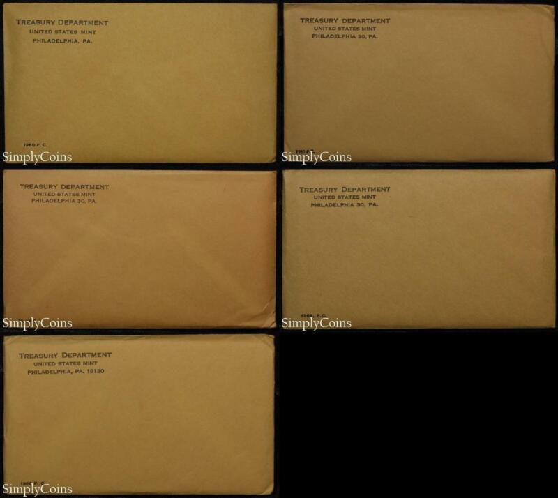 (5) 1960-64 Proof Set Date Run ~ Original Envelope & COA ~ US Mint Silver Lot #2