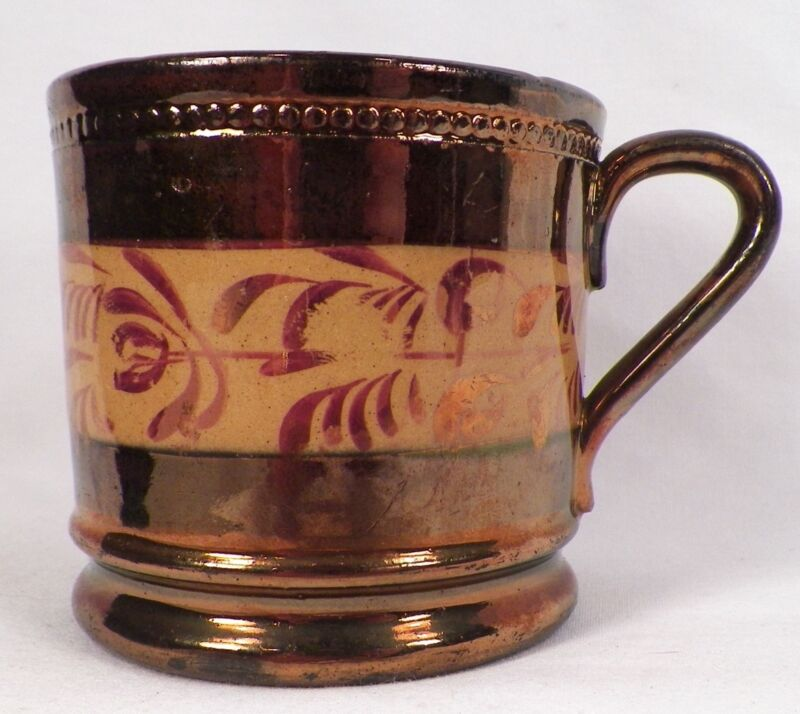 Antique Copper Luster Mug with Pink Luster Leaf Band Soft Paste A Beauty