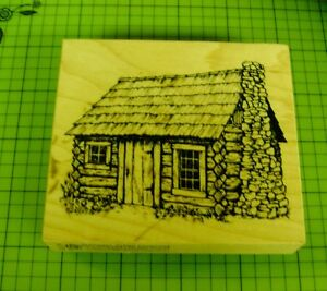 New-PSX-HC-1714-Log-Cabin-Country-Cottage-Stamp-Stone-chimney-Shingle-Roof-USA