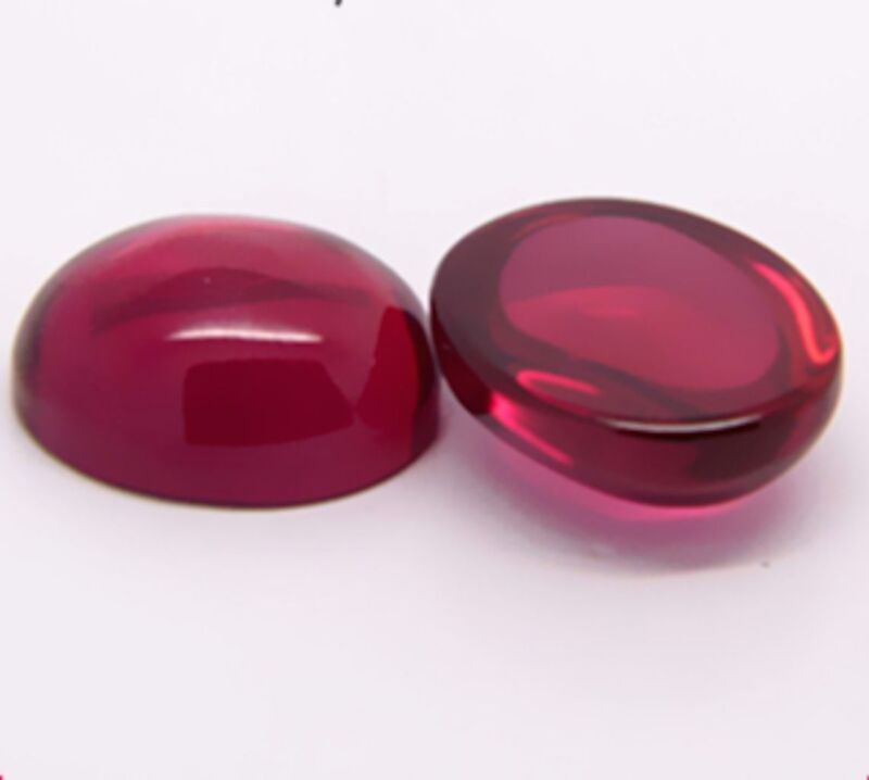 Lab Created Ruby Round Cabochon Flat Back Loose Stones (3mm - 15mm)