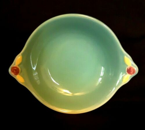 "Vintage Coors Pottery - Rosebud - Green 6"" Cereal Bowl"