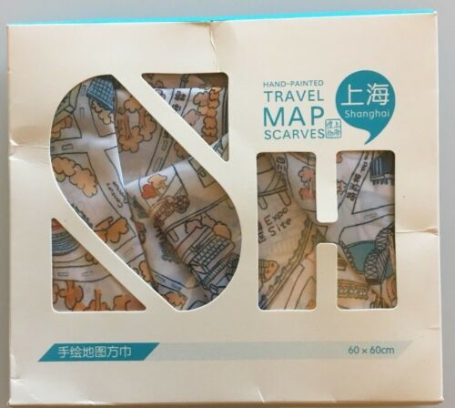 Hand Painted Travel Map Scarf of Shanghai