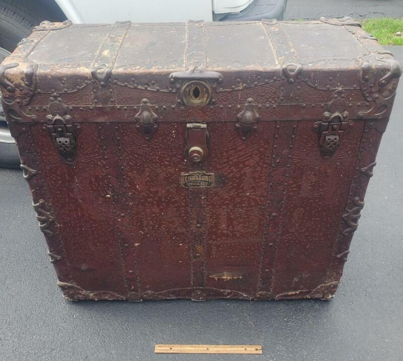 H C FABER & SON UTICA NY RAWHIDE COMBINATION TRUNK Theatrical Chest Syracuse