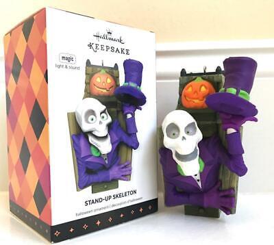 2013 Hallmark STAND-UP SKELETON Halloween Keepsake Ornament Light & Sound NIB