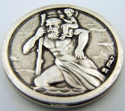 Catholic Medal Charm Prayer Pocket Token Sts Raphael Christopher Antiqued Silver