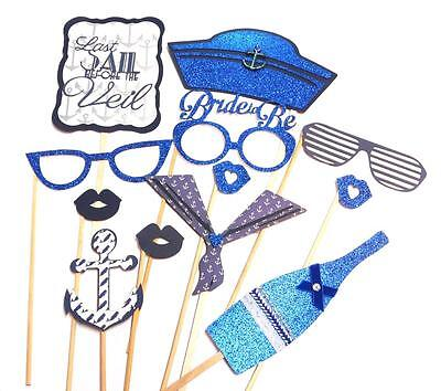 Photo Booth Props - Last Sail Before the Veil Bachelorette Wedding Party x 12PC (Bachelorette Photo Booth Props)