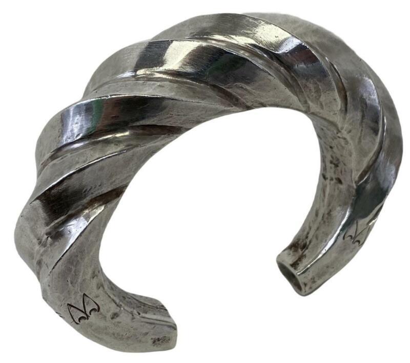 Antique Akha Hill Asian Tribal Thai Laos China Silver Twist Cuff Chunky Bracelet