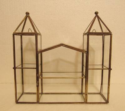 Brass Glass Curio Cabinet Display Case Box Castle Shape 3 Door Table top or Wall