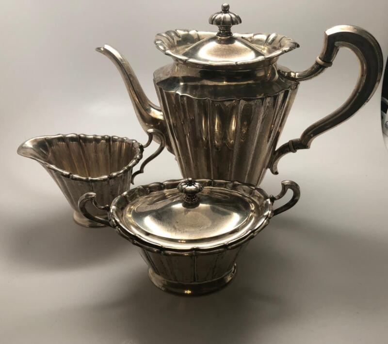 J.C. Wich German .800 Silver Coffee Pot, Creamer, Sugar Dish Set