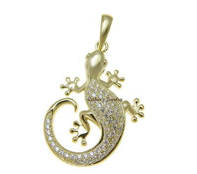 Plated Gecko - YELLOW GOLD PLATED 925 STERLING SILVER HAWAIIAN GECKO PENDANT BLING CZ 25MM