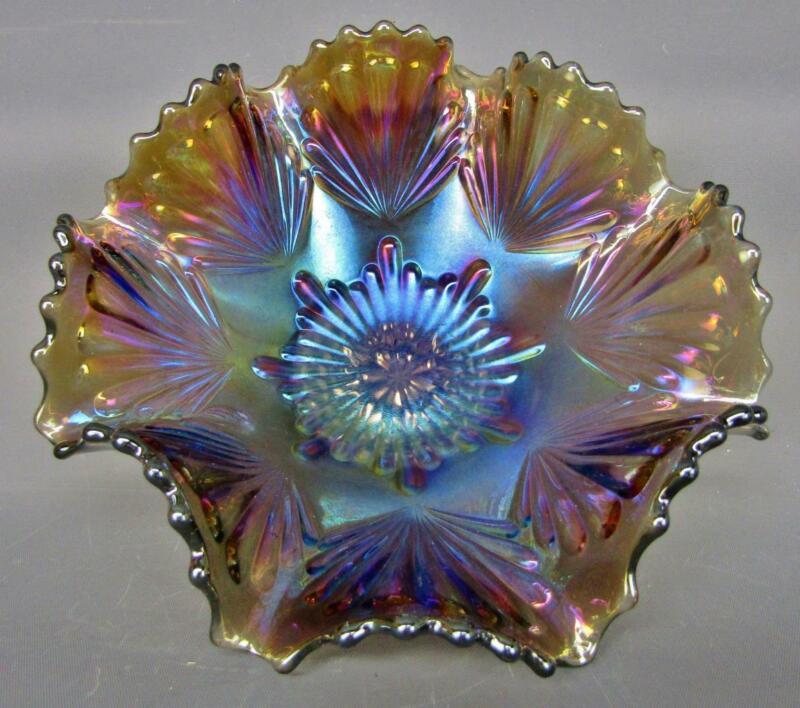 "Imperial SHELL Smoke Carnival Glass Deeply Ruffled 7½"" Bowl B169"