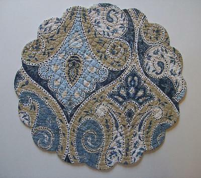 """C&F NAZIMA Blues, Taupe & White Quilted, Scalloped, 17"""" Round Cotton Placemat"""