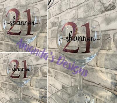 Vinyl Decal Stickers Birthday Name and Age DIY Wine/Gin Glass Stickers
