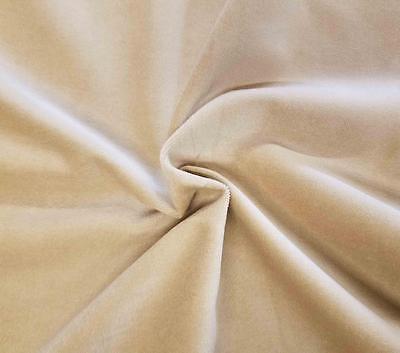 Cream Cotton Velvet Velour Sewing Fabric Upholstery Drapery Sold Per Yard 54