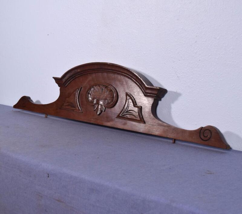 """41"""" French Antique Pediment Solid Oak Wood Crest"""