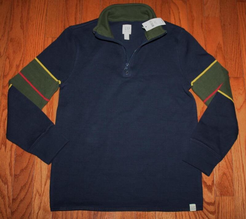 NEW NWT GAP Boys Half Zip Striped Pullover Sweater MockNeck True Indigo $29 *E6