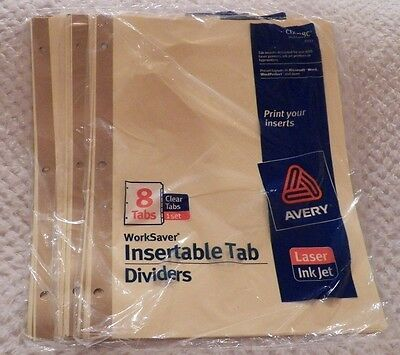 Avery Worksaver Insertable Tab Dividers 8 Tabs Lot Of 3 Packages