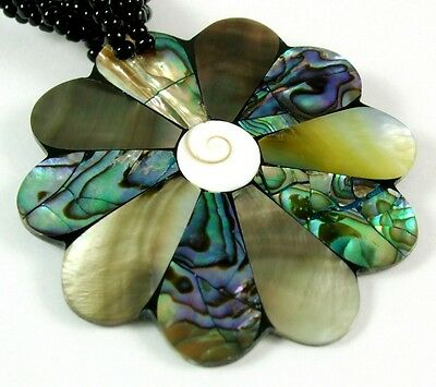 Abalone Shell Mother of Pearl and Shiva Eye Pendant Beads Necklace Jewelry EA248 for sale  Shipping to Canada