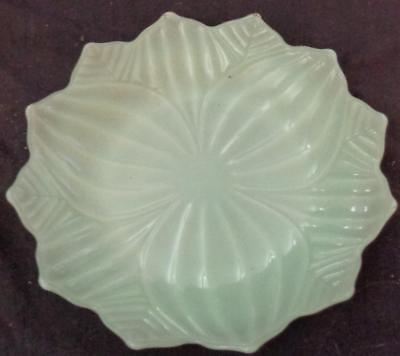 "Vintage Pressed Glass 8.25"" Salad Plate - GREEN OPAQUE GLASS - VGC - LEAVES"
