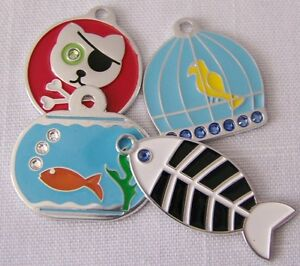 Pet-Dog-Cat-ID-Tag-Pirate-Fish-Bird-w-BLING-Cat-sized-charm-ENGRAVED