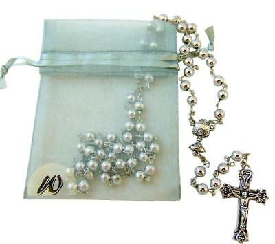 First Holy Communion Metal Rosary for with Chalice Centerpiece + Gift Bag (First Communion Gift Bags)