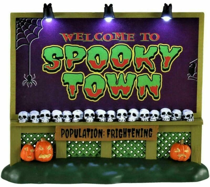 Lemax 2020 SPOOKY TOWN SIGN #04710 NRFP Spookytown Lighted Halloween Accessory *